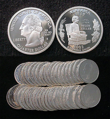 Roll of 40 2003-S Proof Alabama 90% Silver Quarters