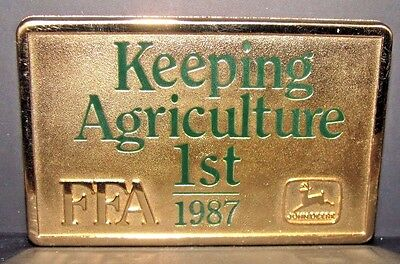 John Deere 1987 FFA Future Farmers of America Sponsor Belt Buckle Ltd Ed #024 jd