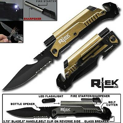 "9"" Tactical Spring Assisted Gold Survival 7 in 1 Folding Pocket Knife Tool"