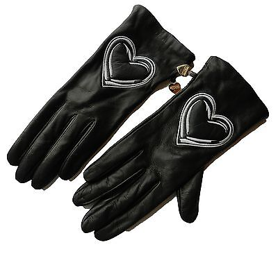 New Moschino Black Heart Symbol Soft Leather Women's Gloves Size 7.5
