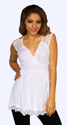 White Lace Maternity Sleeveless Top Casual Womens S M L XL