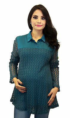 Long Sleeve Blue Maternity Blouse Pregnancy Lace Cover S M L XL
