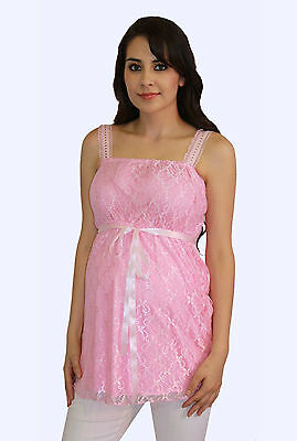 BabyShower Pink Lace Floral Maternity Blouse Womens Sleeveless Top S M L XL