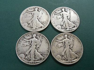 1917, 1918, 1939S & 1943  Walking Liberty Half Dollar Silver Coin Lot-4 Coins