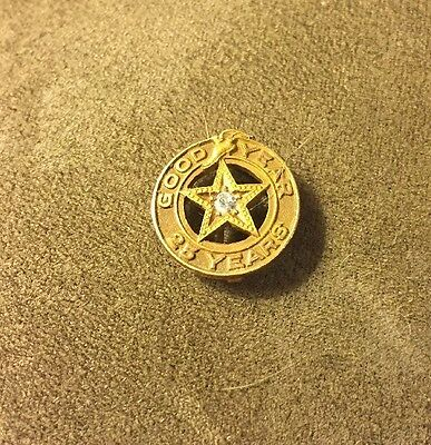 VINTAGE 14k GOLD GOODYEAR 25 YEAR Diamond Star SERVICE PIN Free Ship