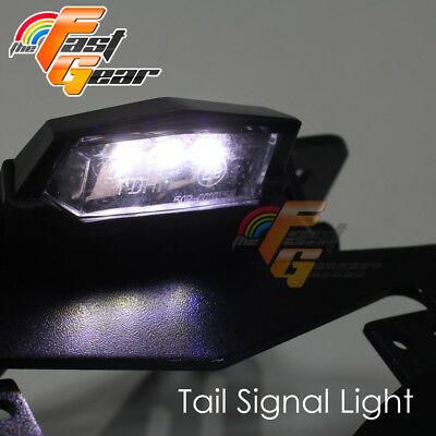 Fit Universal Motorcycle  Rear Black LED number E-Mark flexible tail tidy lamp