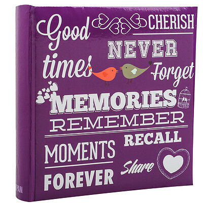 Purple Memo Slip In Case Photo Album 10 x 15 cm For 200 Photos - MEMORIES