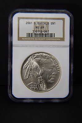 2001-D Indian Buffalo Commemorative Silver Dollar NGC MS 69  #097
