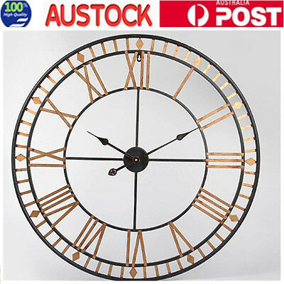 80cm Wrought Iron Wall Clock Roman Numerals Industrial French Vintage Clock