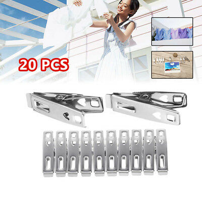 20Pcs Stainless Steel Clothes Pegs Hanging Pins Clips Laundry Household Clamps