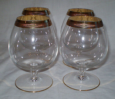 4 Vintage Crystal Brandy Balloon Glasses With Gold Encrusted Band