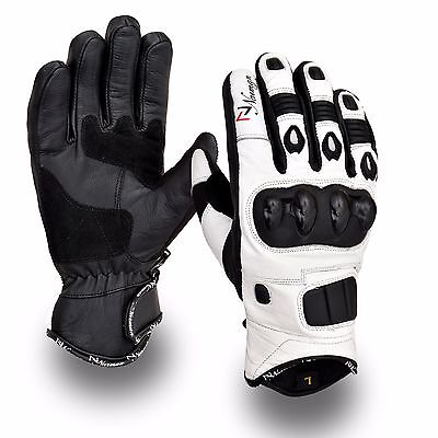 White Short Leather Knuckle Protection Motorbike Motorcycle Gloves Summer