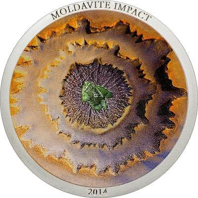 Cook Islands 2014 $5 Moldavite Impact 10 Years Meteorite 1oz Silver Proof Coin