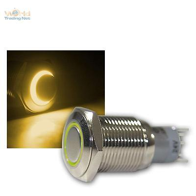 Press Button Metal, max. 230V/3A, Switch with LED lighting-ring Yellow