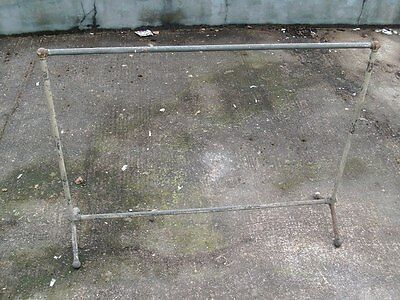Antique Retro Clothes Rail Stand,solid Heavy Metal. Shop Fitting.salvage.bt69.