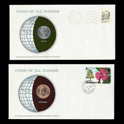 Uruguay And Montserrat Fdc Unc Coins Of All Nations Uncirculated Stamp Cover