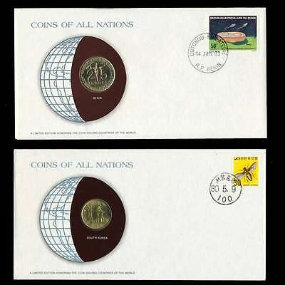 South Korea Andbenin Fdc Unc Coins Of All Nations Uncirculated Stamp Cover