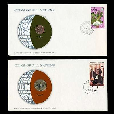 Cameroon And Gambia Fdc Unc ─ Coins Of All Nations Uncirculated Stamp Cover