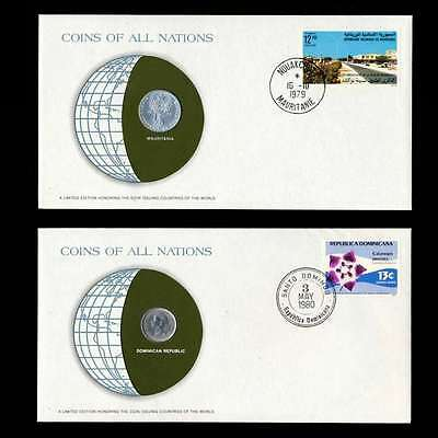 Mauritania Dominican Republic Fdc Coins Of All Nations Uncirculated Stamp Cover