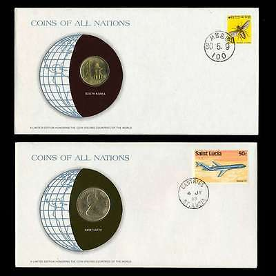 Saint Lucia + South Korea Fdc Unc Coins Of All Nations Uncirculated Stamp Cover