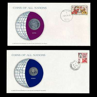 Bahrain And Austria Fdc Unc ─ Coins Of All Nations Uncirculated Stamp Cover