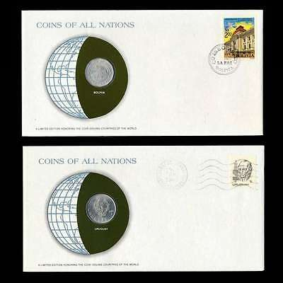 Bolivia And Uruguay Fdc Unc Coins Of All Nations Uncirculated Stamp Cover