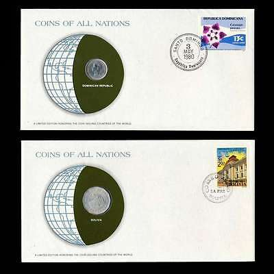 Dominican Republic Bolivia Fdc Unc Coins Of All Nations Uncirculated Stamp Cover
