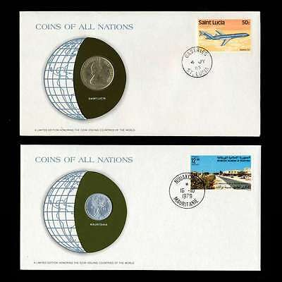 Saint Lucia And Mauritania Fdc Unc Coins Of All Nations Uncirculated Stamp Cover