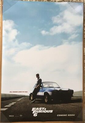 FAST & AND FURIOUS 6 MOVIE POSTER 2 Sided ORIGINAL Advance 27x40 PAUL WALKER