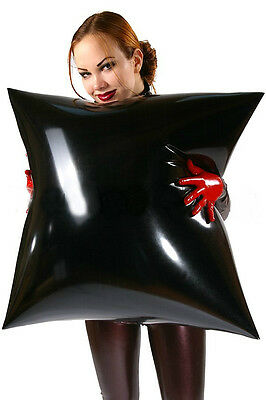 Inflatable latex gummi rubber pillow 70 x 70 cm (black or red)