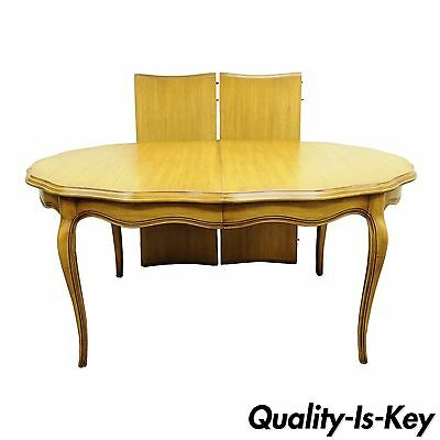 Vintage French Provincial Oval Dining Room Table Walnut Scalloped Edge Country