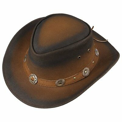 Scippis Rugged Earth Leather Hat Cowboy Western Tombstone robust S XL