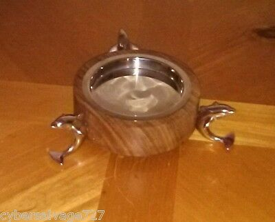 Dolphin Pillar Candle Holder Three Dolphins on Stainless Steel And Wooden Base