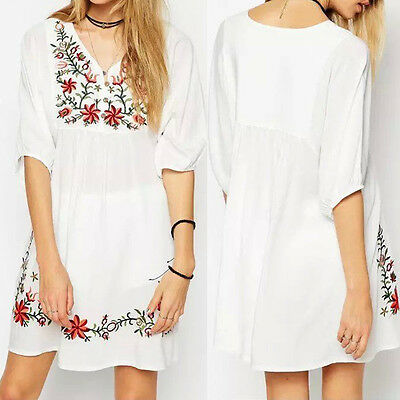Women Boho Mexican Ethnic Embroidered Dress Hippie Blouse Gypsy Mini Dress CA