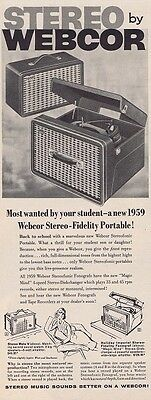 1958 WEBCOR STEREO MUSIC FIDELITY PORTABLE RECORD PLAYER SOUNDS Vintage Print Ad