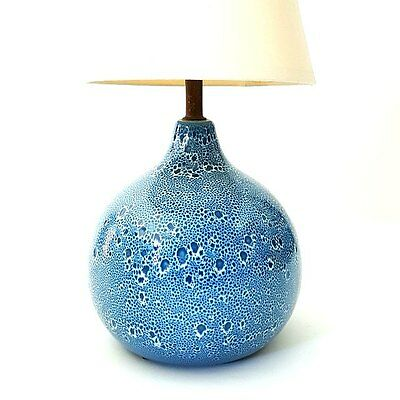 Mid-Century Modern Ceramic Blue Table Lamp Maurice Chalvignac