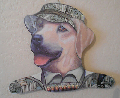 """Yellow Lab Dog Head by Annie Stupell Wood Clothing Hanger 15 x 13"""" Camo Hunter"""