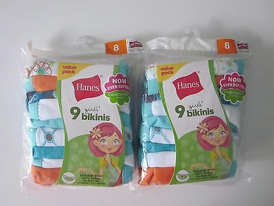 Lot of 2 Packs Hanes Tagless Girl's 9 Bikinis Size 8