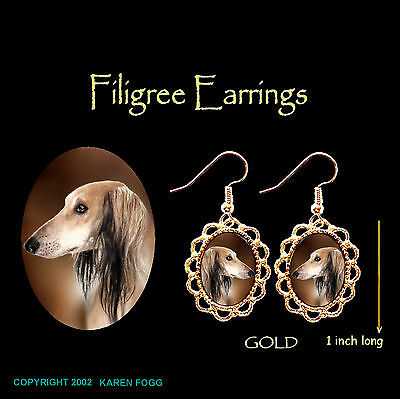 SALUKI DOG  - GOLD FILIGREE EARRINGS Jewelry