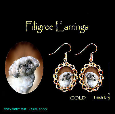 SHIH TZU LHASA APSO DOG Shih-Lhasa  - GOLD FILIGREE EARRINGS Jewelry