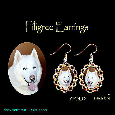 SIBERIAN HUSKY DOG White - GOLD FILIGREE EARRINGS Jewelry