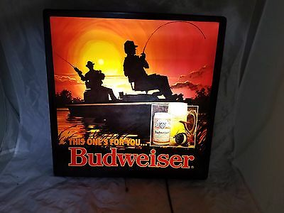 "Vintage Budweiser Sign Lighted ""This Ones For You"" Bass Fishing Boat Fathers Day"