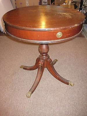 Old Antique Wooden Duncan Phyfe Style Grand Rapid Mahogany Table Brass Claw Feet