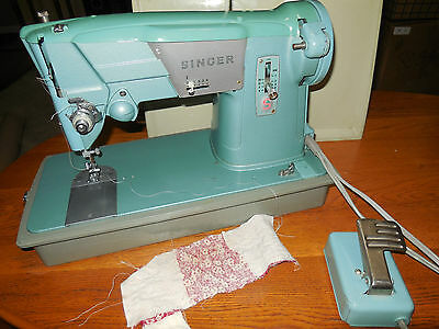 Vintage Turquoise Singer Sewing Machine Model 327K w/ Pedal & Case NICE