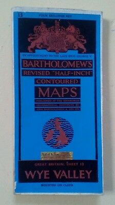 1950's Bartholomews Cloth Map of Wye Valley Revised Half Inch Contoured