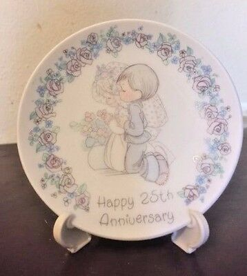 Precious Moments Happy 25th Anniversary Small Plate Wedding 1989 Vintage W/STAND