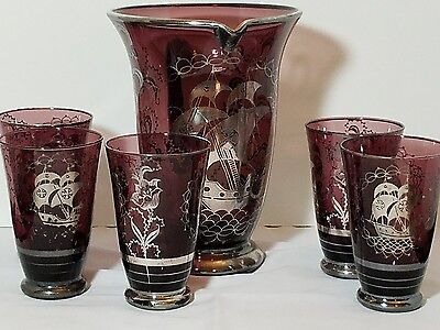 Antique Amethyst Silver Overlay Purple Pitcher and 5 tumblers ships flowers