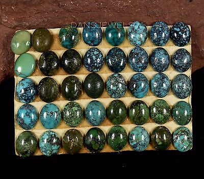 Lot of 40 Stones Carded 8x10mm Natural SPIDERWEB Turquoise Cabochons 60 Carats