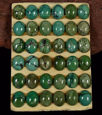 Lot of 36 Stones Carded 8x10mm Natural SPIDERWEB Turquoise Cabochons 50 Carats