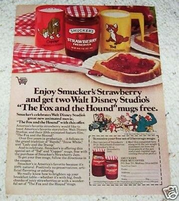 1981 ad page - Smucker's Preserves & Disney Fox Hound vintage PRINT ADVERTISING
